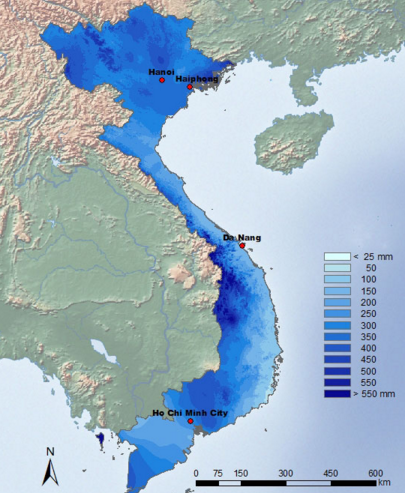 Pluviometrie Vietnam en Aout