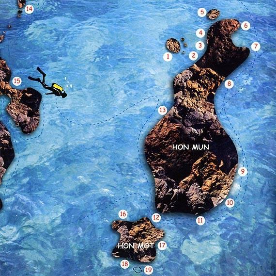 Sites pour la Plongée au tour de Hon Mun