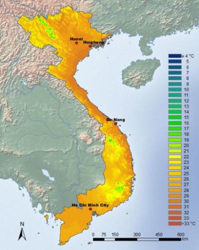 Temperature VIetnam en Aout
