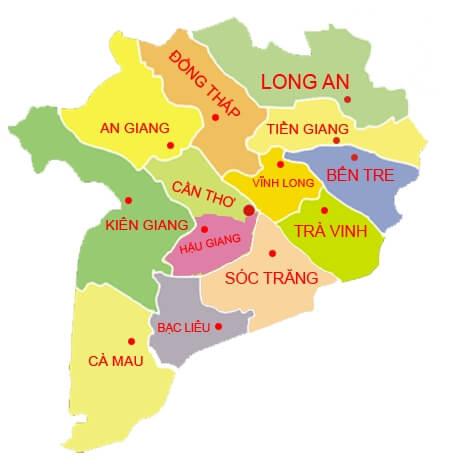 Provinces dans le Delta du Mekong sud Vietnam