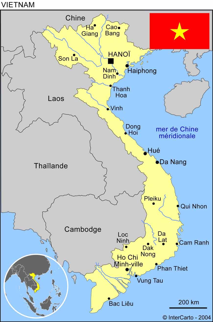 Carte Vietnam Tourisme