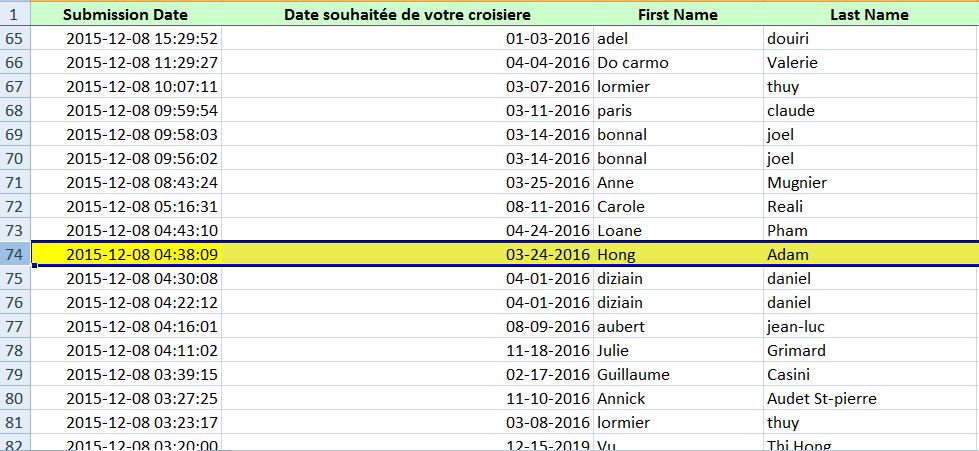 Liste resultat Tiragau Sort
