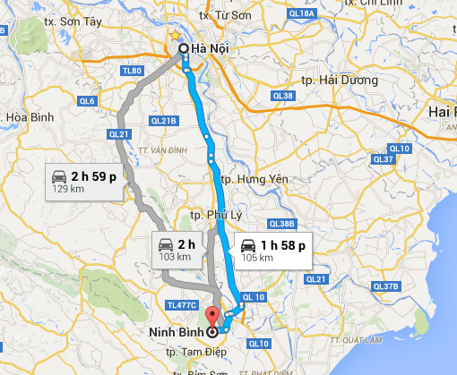Distance Hanoi Ninh Binh