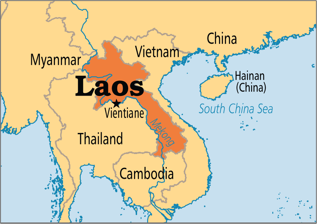Carte du Laos en couleur en grande échelle à télécharger gratuitement