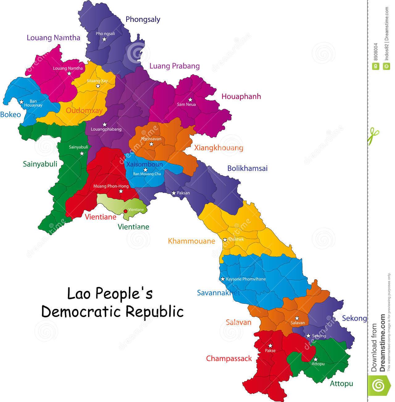 Carte Laos en couleur