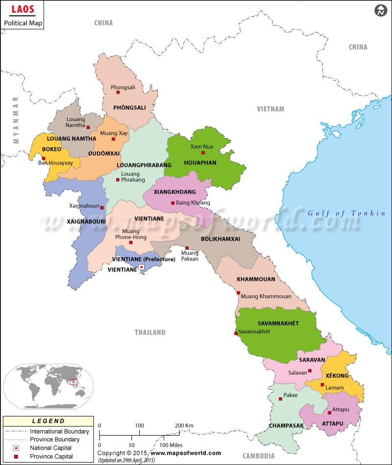 Carte des provinces du Laos