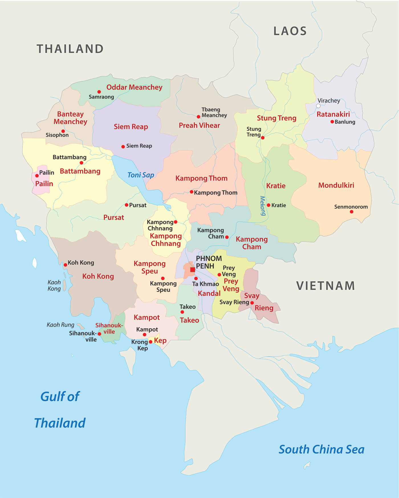 Carte des provinces du Cambodge