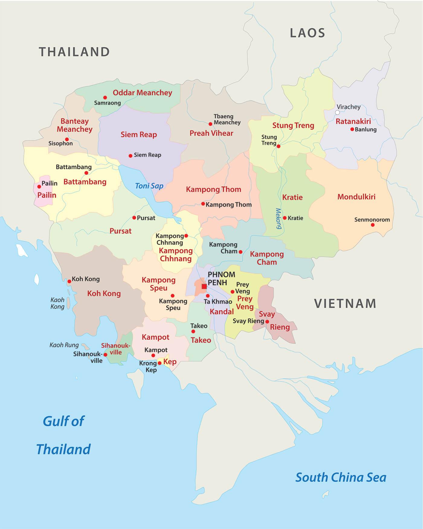 Carte des provinces du Cambodge