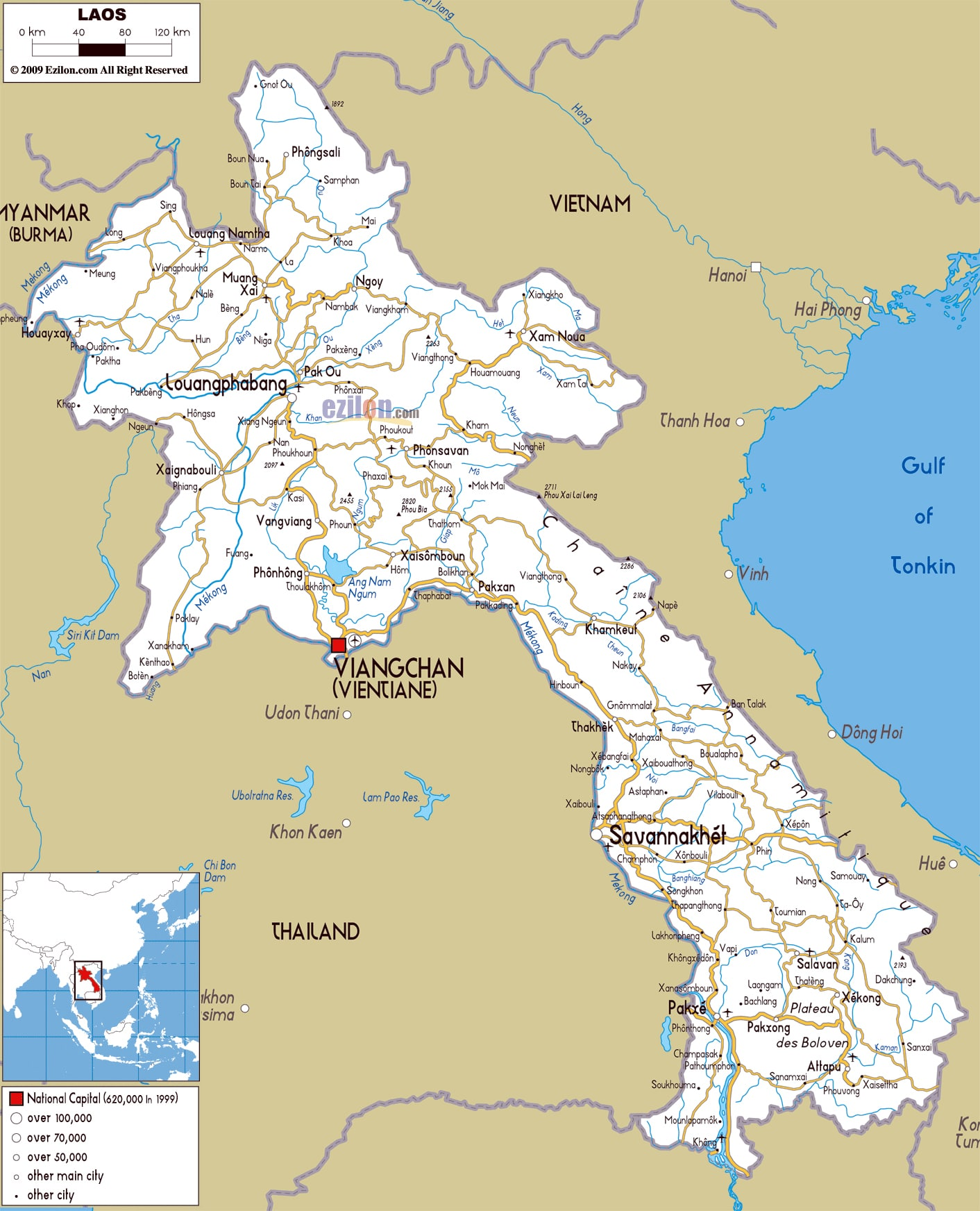 Carte des Routes au Laos