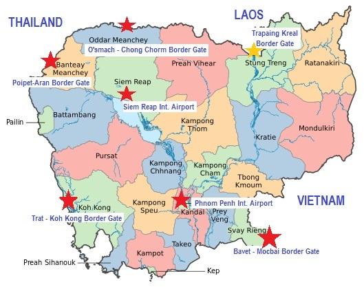 Points de passage pour entrer au Cambodge où le visa électronique est accepté