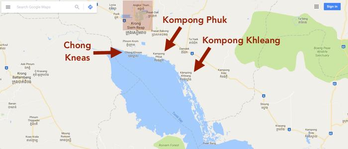 Location des villages flottants au lac de Tonle Sap
