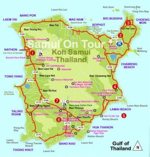 Carte de Koh Samui, Thailande