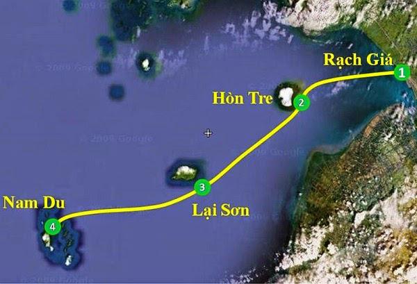Route de bateau pour Nam Du
