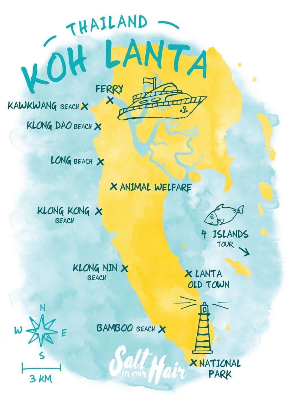 carte des plages sur Koh Lanta