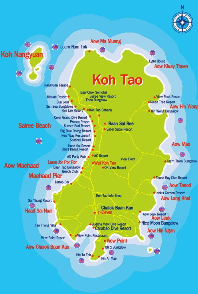 Carte de Koh Tao