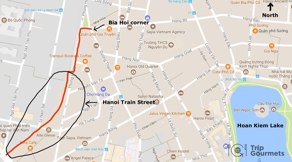 Location de Rue des trains Hanoi